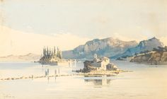 Angelos Giallina (Greek, The islands of Pontikonissi and Vlacherna, Corfu Corfu Greece, Greek, Auction, Europe, Fine Art, Islands, Pictures, Painting, Photos