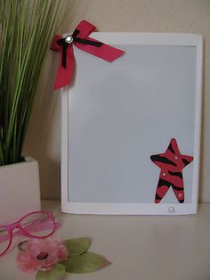 New Pink Zebra Print Star Magnetic Dry Erase Board w/ Bow & Bling - Great Gift!
