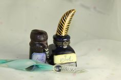 Glass Ink Pen & India Ink Calligraphy Set with Ceramic Trinket Ink Bottle Desk set - pinned by pin4etsy.com