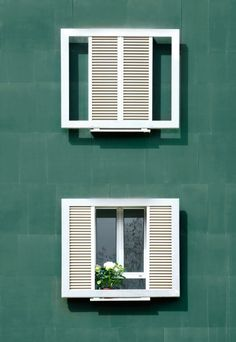 traditional shutter with modern frame Sliding Windows, Blinds For Windows, Windows And Doors, Window Grill Design Modern, Window Design, Louvre Windows, Balcony Grill, Social Housing, Window Shutters