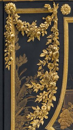 """DETAIL ~ GILDED BRONZE MOUNTS ~ SECRÉTAIRE ABATTANT~ 1783 Jean-Henri Riesener ~Secretary; ebony, black and gold Japanese lacquer, exotic woods, gilt-bronze mounts. Ordered with matching commode and encoignure for Marie Antoinette's cabinet at Versailles. The superb quality gilded bronze mounts have been attributed to Pierre Gouthière, the most famous Parisian bronzeworker of the late 18th c. century who became """"doreur du roi""""  (gilder to the king) in 1767. COLLECTION MMA, NY"""