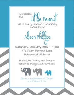 Elephant Baby Shower invite for a boy