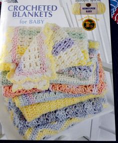 Crocheted Blankets for Baby Lion Brand Yarn Homespun Baby   Leisure Arts by Patternhaus on Etsy