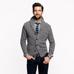 [BOUGHT] Donegal shawl cardigan - sweaters - Men's New Arrivals - J.Crew *Grey shawl cardigan that has a lower first button Shawl Cardigan, Cardigan Outfits, Cardigan Sweaters, Wool Sweaters, Cardigan Fashion, Cashmere Sweaters, Cardigans, Men's Fashion, Winter Fashion