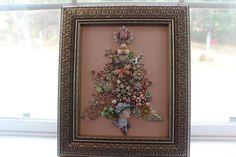 Framed Vintage Jewelry Christmas Tree STUNNING Pink Rhinestone Lady!!! 11 x 13