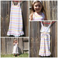 """FREE-Huckleberry Love: Simple Toddler Nightgown {Free Pattern}I took one of her existing nighties and designed my own pattern based on its measurements. This fits a size 5T with room to grow. I wanted it to get a lot of use out of it :-). Here's the file. Otherwise, make a 19"""" long rectangle and cut in for arm holes. This is what you'll need to get started: -1 yard of cotton jersey fabric -1 package of Stretch Lace Elastic (you can find this with all of the elastics at Joann's) - basic…"""
