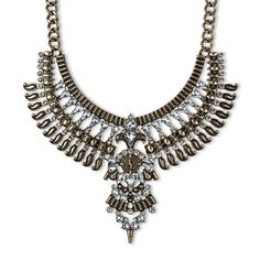 Women's Bib Necklace With Stones-Gold, Gold