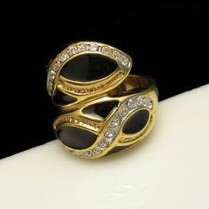 GORGEOUS ENAMEL RING! This lovely vintage ring featues shiny black enamel and rhinestones and can be worn by a woman, or as a man's pinky ring. $54.95