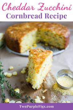 Take a break from regular cornbread and try this fluffy Cheddar and Zucchini Cornbread recipe. Trust me, it is the best cornbread recipe ever! The batter can be whipped up within minutes and once baked, this cheesy cornbread is the perfect accompaniment to any bbq, soup or stew! #cornbread #zucchinibread #cheddarbread #easyrecipe | twopurplefigs.com @twopurplefigs Breakfast Bread Recipes, Healthy Bread Recipes, Yeast Bread Recipes, Brunch Recipes, Cooking Recipes, Breakfast Ideas, Healthy Foods, Dinner Recipes, Zucchini Cornbread