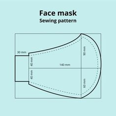 Vista frontal del patrón de costura de la máscara facial | Vector Gratis Easy Face Masks, Diy Face Mask, Cãezinhos Bulldog, Sewing Hacks, Sewing Projects, Monkey Pattern, Pattern Sketch, Mandala Pattern, Party Accessories