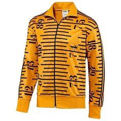 Adidas Jeremy Scott Tape Measure TT Supergold Black Mens Polyester Zipper Jacket #adidas #JermeyScottTapemeasureTT