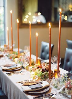 fruit and vegetable centerpiece/tablerunner with candles