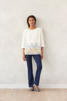 It's all in the details in our Pure Jill textured border-print top paired with barely boot-cut indigo pants