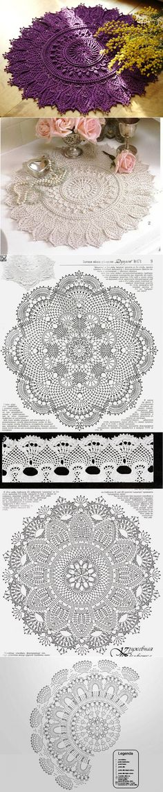 Crochet Doily Diagram, Crochet Mandala, Crochet Motif, Crochet Doilies, Knit Crochet, Afghan Patterns, Doily Patterns, Knit Patterns, Free Crochet Bag