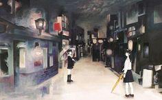 As singelas pinturas de garotas em um Japão onírico de Jun Kumaori