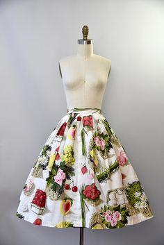 1950's McMullen novelty fruit print cotton skirt xs Vintage Instagram, Fruit Print, Sweater Skirt, Novelty Print, Cotton Skirt, Vintage Sweaters, Printed Skirts, Printed Cotton, Printing On Fabric