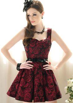 Sleeveless Rose Print Flare Dress 28.33