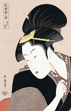 """In the genre of art known as 浮世絵 (ukiyo-e, """"pictures of the floating world""""), one artist's name that stands out is 喜多川歌麿 (Kitagawa Utamaro, c. Art Chinois, Japan Painting, Art Asiatique, Art Japonais, Japanese Prints, Japan Art, Japanese Culture, Woodblock Print, Chinese Art"""