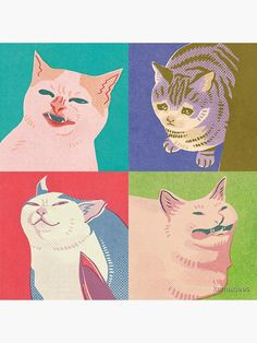 """Four Meme Cats of the Apocalypse"" Photographic Print by karmabees   Redbubble Canvas Art, Canvas Prints, Art Prints, Apocalypse Art, Cat Memes, Aesthetic Art, Crazy Cats, Cat Art, Art Inspo"