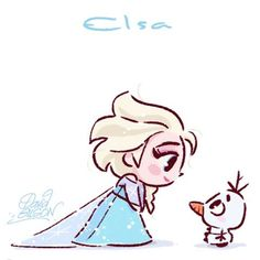 Elsa [feat. Olaf] (Chibis by PrinceKido @deviantART) #Frozen