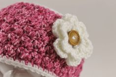 Crochet Earwarmer with Flower accent Adult and by LoopsAndBlossoms
