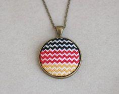 Patriotic necklace Cross stitch necklace German flag by skrynka, $42.50