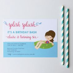 Splish Splash Summer birthdays are a blast! Pool Party Invitation by Brown Paper Studios