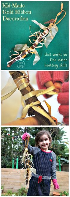 Kid-Made Gold Ribbon Ornament for fine motor knotting practise