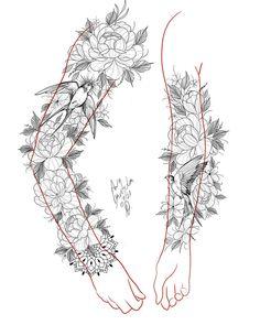 Feminine Tattoo Sleeves, Feminine Tattoos, Girly Tattoos, Wörter Tattoos, Girl Arm Tattoos, Sleeve Tattoos, Floral Tattoo Design, Flower Tattoo Designs, Flower Tattoos