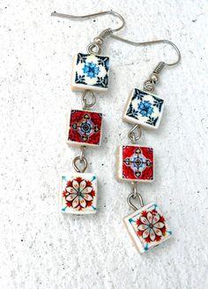 Portugal Blue and Red Antique Azulejo Tiles Replica by Atrio,
