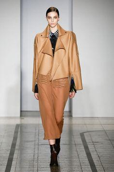 Mila Schön - look 11 SWEET DIAMANDA GALAS – Biker jacket in camel wool with double workings and a veil skirt in silk georgette.