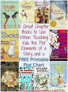 Do you want to teach your children about story elements? Here are ten great chapters to use. And you can pick up a FREE plot chart printable!