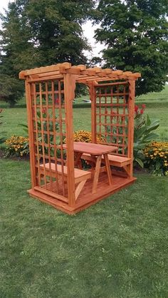 Introduce a charming architectural element to your garden with the A & L Furniture Lexington 7 ft. High Wood Arbor with Deck . Accommodates a 5 ft. Woodworking Furniture, Furniture Plans, Wood Furniture, Woodworking Plans, Woodworking Projects, Outdoor Furniture, Popular Woodworking, Building Furniture, Woodworking Shop