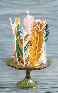 Painted feather party cake