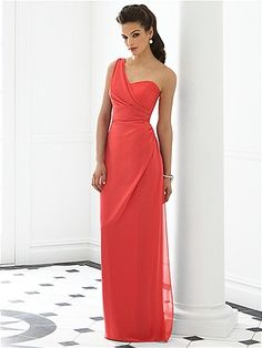 One shoulder full length nu-georgette dress w/ draped bodice and draped skirt