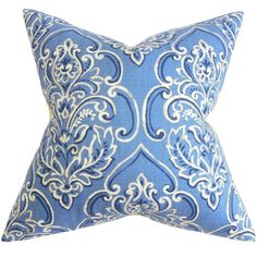 Yonah Floral Feather and Down Filled Throw Pillow Blue - Overstock™ Shopping - Great Deals on PILLOW COLLECTION INC Throw Pillows