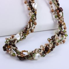 Pearl Necklace Peach Copper Sage Green Multi Strand #jewelry #brigteam @Peg Stradling