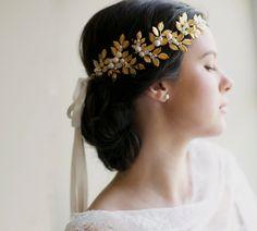 Grecian crown bridal hair wedding crown by EricaElizabethDesign