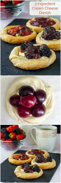 Quick Cream Cheese Danish – only 3 ingredients! Use whatever fruits and berries you like to make these gorgeous little pastries. Ideal for summer brunches using seasonal fruits and berries.