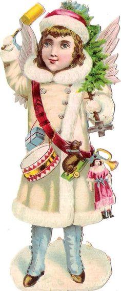 Oblaten Glanzbild scrap die cut  Winter Engel  16,5cm XMAS angel Baum Puppe drum