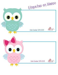 Etiquetas Owl Labels, Kids Labels, Owl Theme Classroom, Kids Background, Bird Applique, School Labels, Bird Crafts, School Decorations, Cute Stickers
