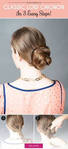 Wearing a classic low chignon is a simple way to look polished, showcase earrings, set off a statement necklace, or highlight your wardrobe. Give it a try! #hairstyle #howto