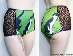 Sly Kitty - Green Cat High Waisted Retro Panties Knickers Briefs Underwear - Picot Trim - Lace Side Panels. $25.00, via Etsy.
