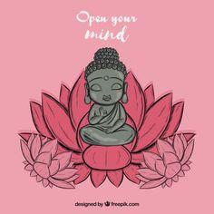 Shakti yogui Blue Things blue color on black hair Buddha Doodle, Buddha Wall Art, Buddha Painting, Buda Wallpaper, Art Mini Toile, Buddhist Symbols, Mini Canvas Art, Yoga Art, Cute Cartoon Wallpapers