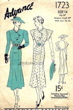 Advance 1723 Vintage 1937 Diagonal Buttoned Bodice Dress Pattern by sydcam123