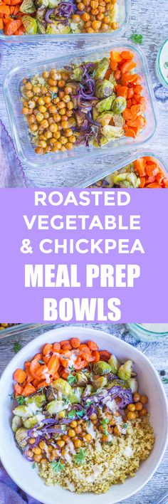 These Roasted Vegetable and Chickpea Meal Prep Bowls are vegan, gluten free and healthy!  They're so easy make and so great for a make ahead meal prep lunch or dinner.  If you're trying to make eating healthy easier, then these meal prep bowls are for you! #vegan #mealprep #lunchbowls #vegetarian #glutenfree