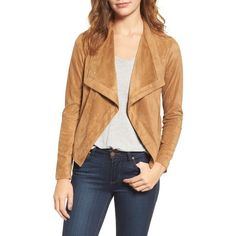 Women's Bb Dakota Nanette Faux Suede Drape Front Jacket ($115) ❤ liked on Polyvore featuring outerwear, jackets, whiskey, drapey jacket, drape jacket, bb dakota, open front jacket and bb dakota jacket