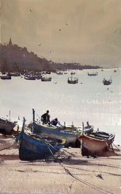 Kai Fine Art is an art website, shows painting and illustration works all over the world. Watercolor Artists, Watercolor Landscape, Watercolour Painting, Landscape Paintings, Watercolours, Joseph Zbukvic, Blog Fotografia, Boat Art, Boat Painting