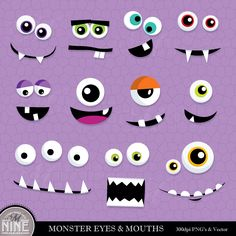 MONSTER EYES & MOUTHS Clip Art Digital Clipart, Instant Download, Monster Faces Clipart Vector Art Party Graphics by MNINEDESIGNS on Etsy https://www.etsy.com/listing/225729402/monster-eyes-mouths-clip-art-digital