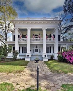 Paver Sidewalk, Greek Revival Architecture, Greek Revival Home, Southern Mansions, Fluted Columns, Interior Columns, Pine Floors, Floor To Ceiling Windows, Grand Staircase